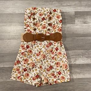Floral Strapless Romper / Size Small